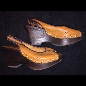BCBGirls Leather Upper Wooden Wedge Heels